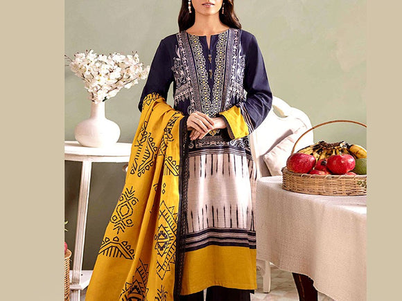 Embroidered Lawn Suit with Chiffon Dupatta (DZ13787)