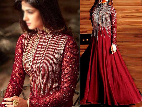 Indian Embroidered Maroon Chiffon Maxi Dress (DZ13789)