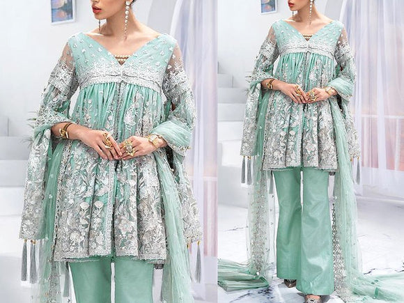 Embroidered Net Wedding Dress with Silk Trouser (DZ13792)