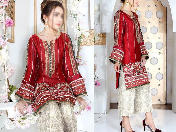 Embroidered Red Cotton Dress with Embroidered Trouser (DZ13793)