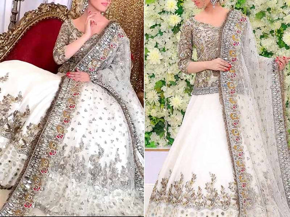Mirror Work Heavy Embroidered Net Bridal Lehenga Dress (DZ13794)