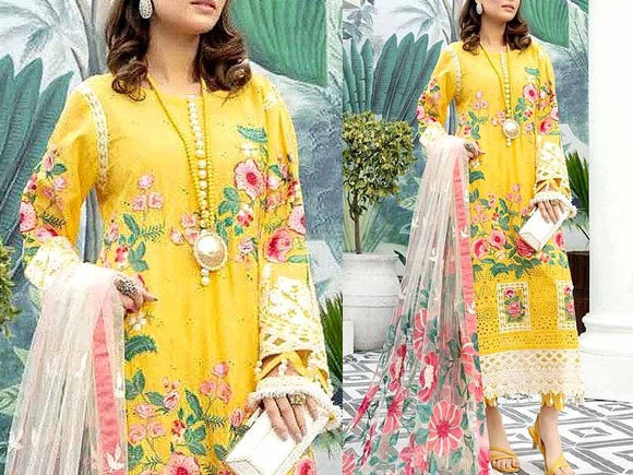 Schiffli Embroidered Lawn Dress with Embroidered Net Dupatta (DZ13797)