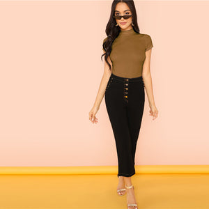 Rib Knit Crop Round Neck Top
