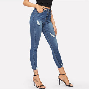 Navy Frayed Edge Jeans Women 2019 Spring