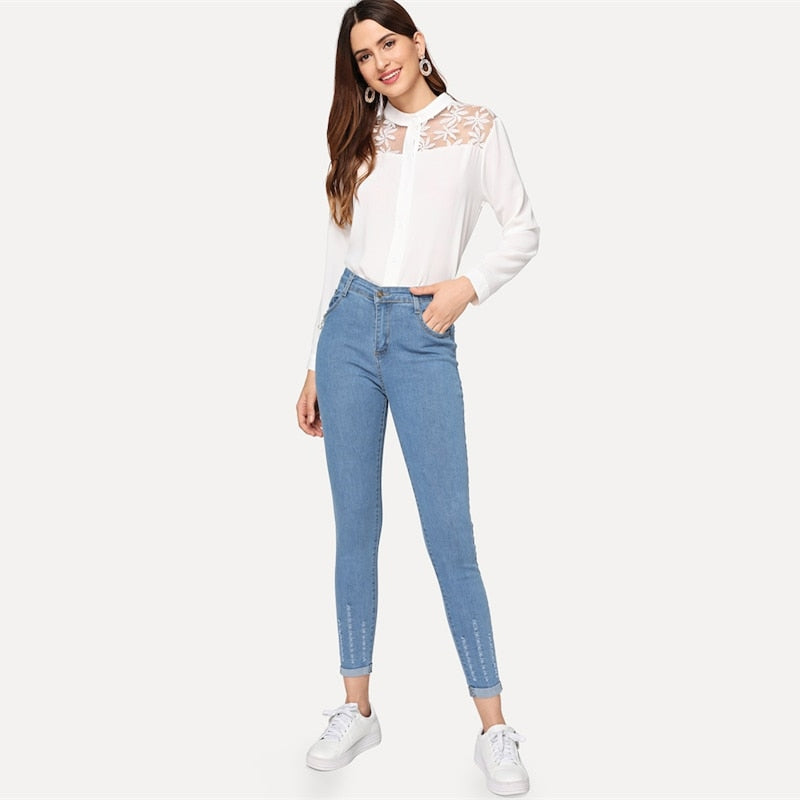 Ripped Roll-Up Skinny Jeans 2019 Spring