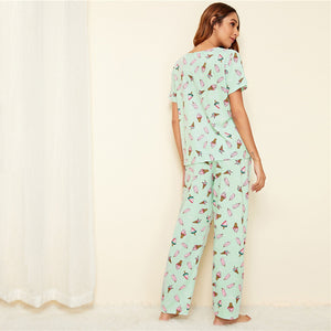 Ice Cream Print Pyjama Set