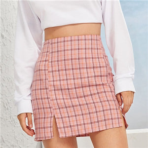 Plaid Side-Slit Skirt