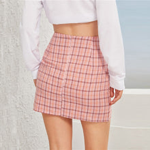 Load image into Gallery viewer, Plaid Side-Slit Skirt