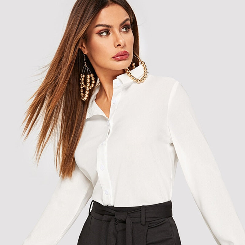 White Button Up Basic Blouse 2019 Summer