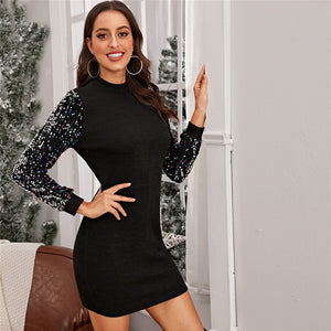 Black Sequin Sleeve Dress
