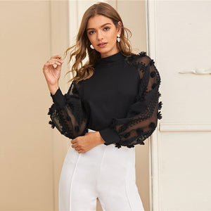 Contrast Mesh Sleeve Blouse