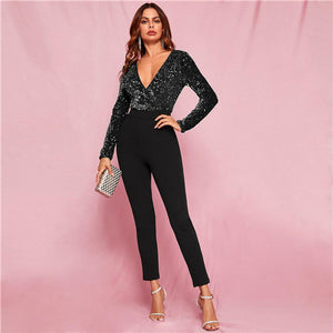 Plunging Sequin Jumpsuit