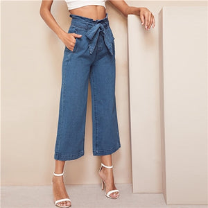 High Waist Wide Leg Belted Crop Jeans