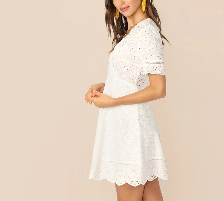 White Boho Empire Dress