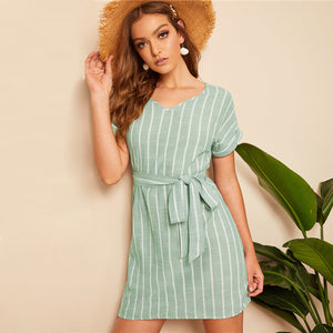 Vertical Striped Belted Dress