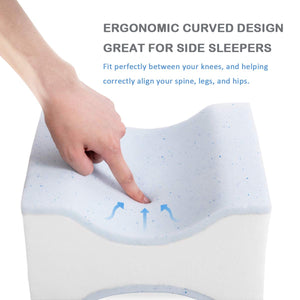 wavveUziz Gel-Infused Pure Memory Foam Knee Pillow Leg Pillow for Hip, Back, Leg, Knee Pain Relief Side Sleeper Pregnancy Lower Back Pain Ergonomic Curve Contour Pillow Removable Strap Washable Cover