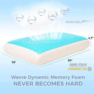 wavveUziz Gel Cooling Memory Foam Pillow, Medium Firm Memory Bed Pillow for Side, Back Sleepers - Durable Cool Pillow for Sleeping with Ventilated Washable Mesh Cover, Standard, 1-Pack