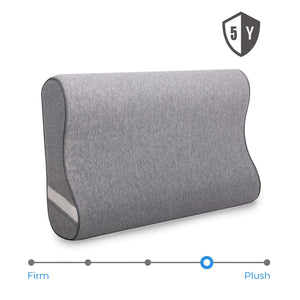 wavveUziz Contour Memory Foam Pillow - Orthopedic Cervical Pillows for Neck Pain, Neck Support for Back, Side Sleepers - Bamboo Charcoal Bed Pillows with Washable Zippered Cover - Standard Size