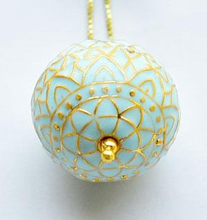 Silver Gold Plated Turquoise Painted Enamel Meena Pendant
