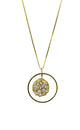Embedded Flower Pendant Necklace Gold Finish