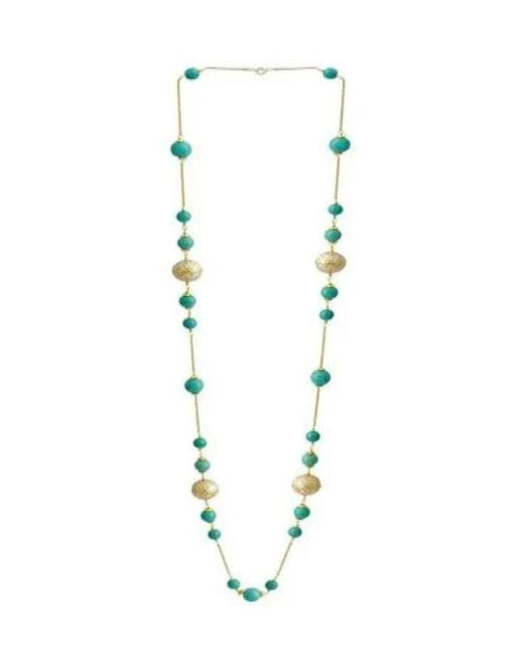 Painted Enamel Meena  Bead Necklace with  Turquoise in 925 Sterling Silver Chain