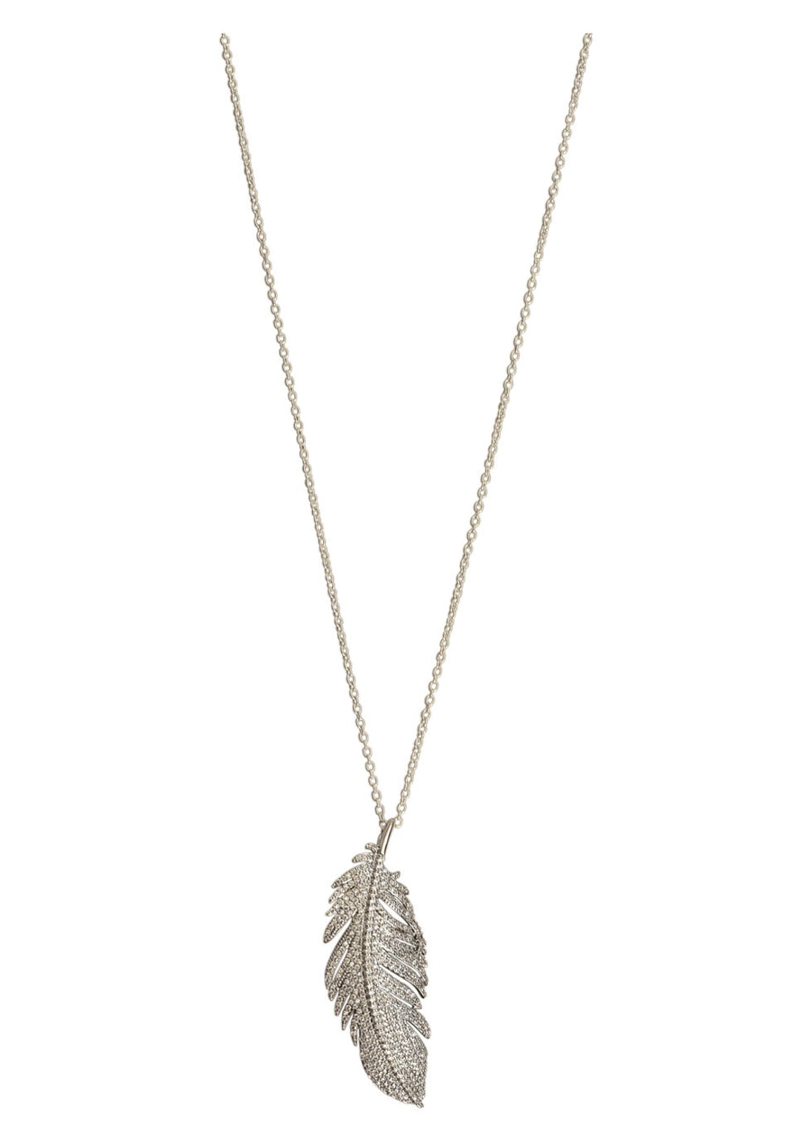 Feather Brooch Pendant Necklace
