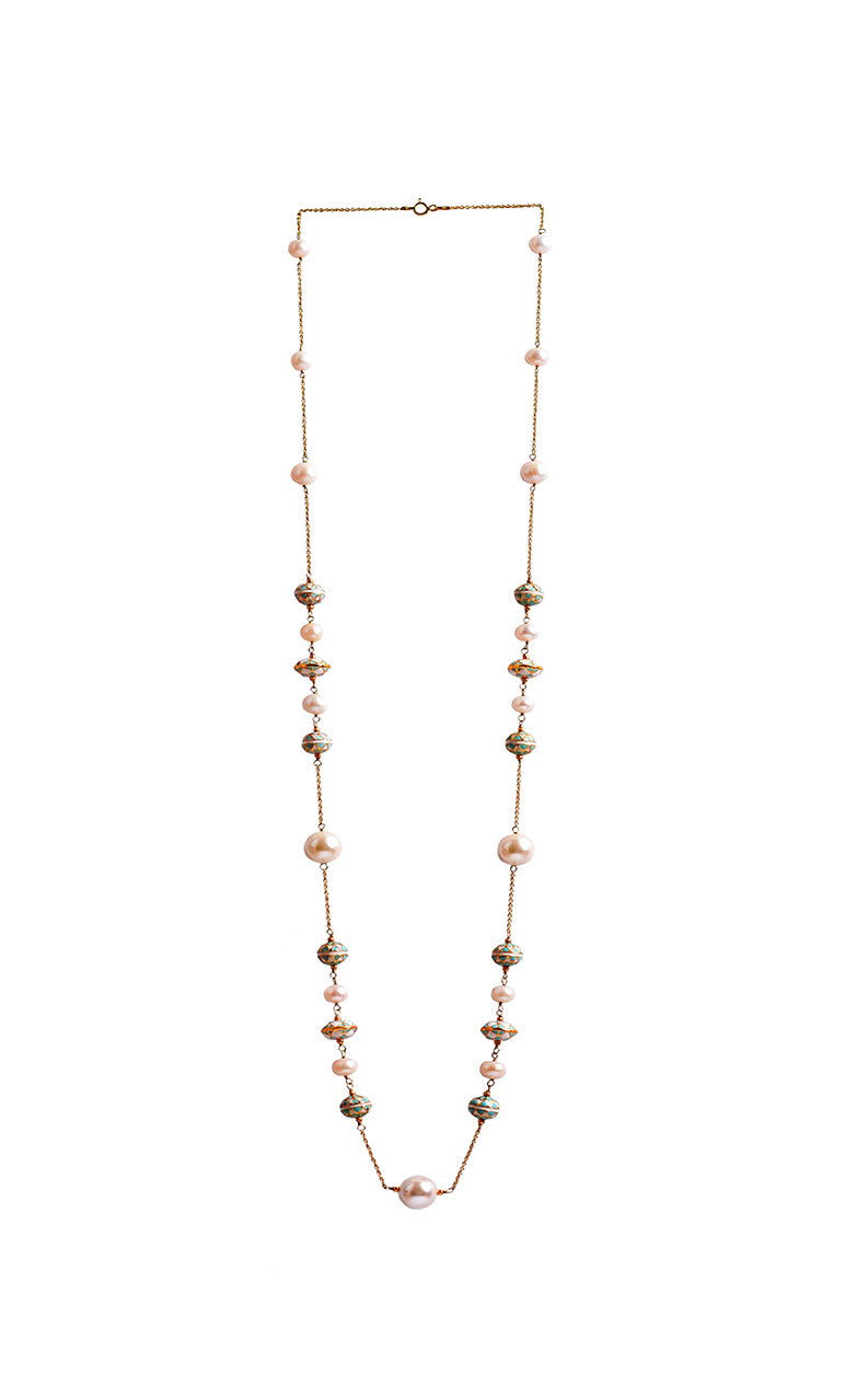 Long silver necklace - Painted enamel and pearl necklace