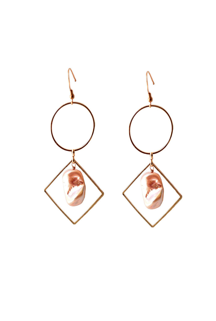 Keshi Pearl Loop Dangle Earrings