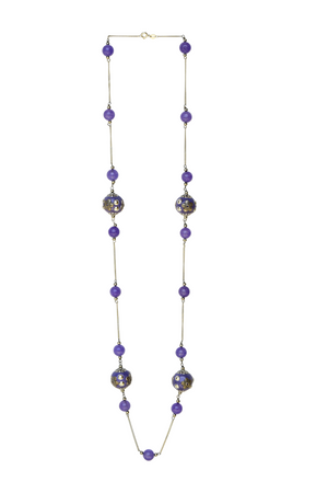 Handcrafted  Bead & Amethyst Necklace