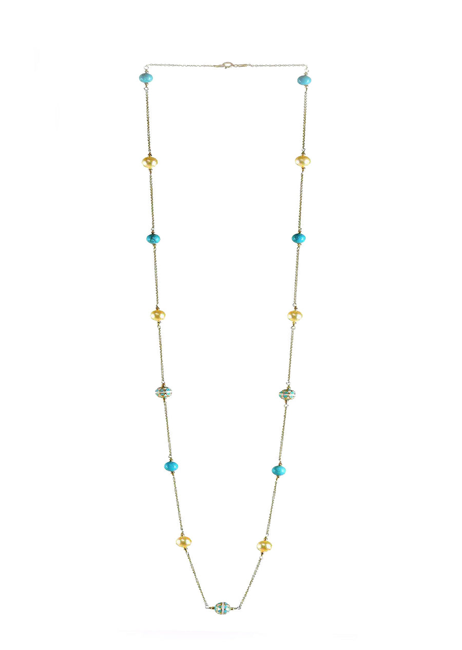 Painted Enamel Meena Bead and Pearl  Necklace  in 925 Sterling Silver Chain