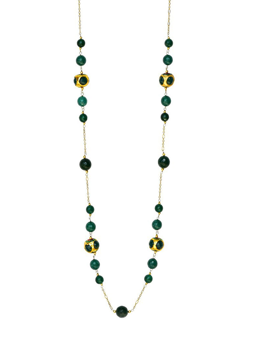 Hala Long Necklace (Green)- Heritage Bead with Quartz