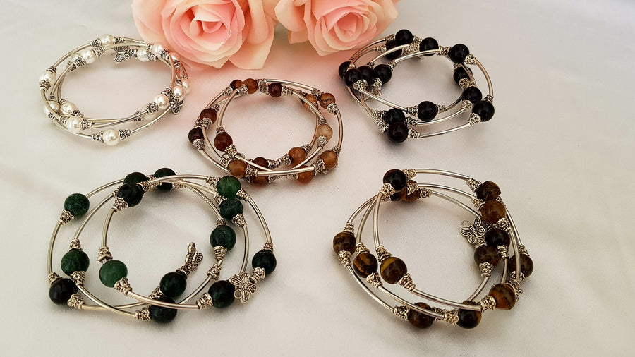 Spiral Bracelet With Charms