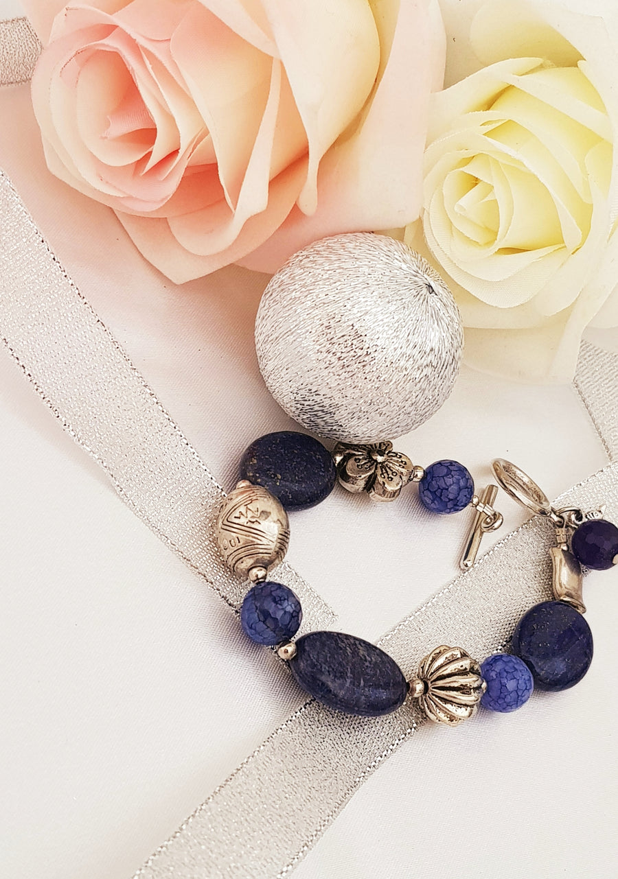 Charm Bracelet With Blue Agate