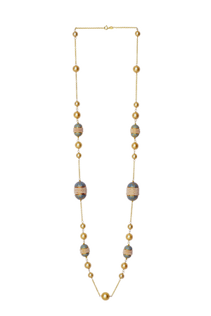 Pearl and Enamel Meena Long Necklace