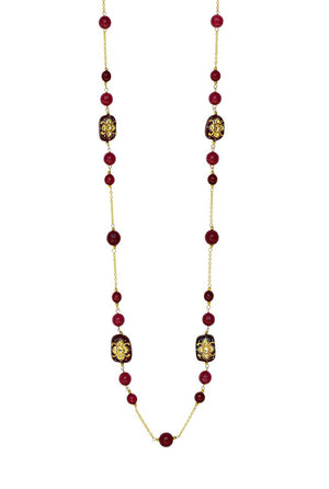 Handcrafted Embossed Bead Necklace Red Finish