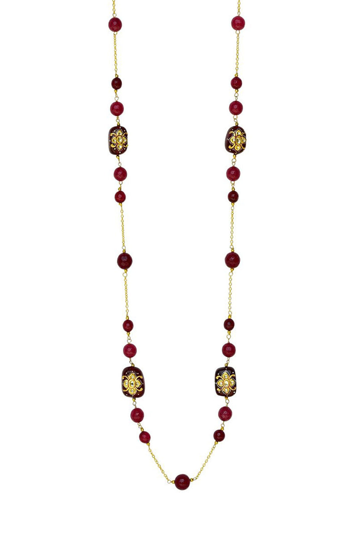 Quartz and Pearl Long Necklace Red Finish