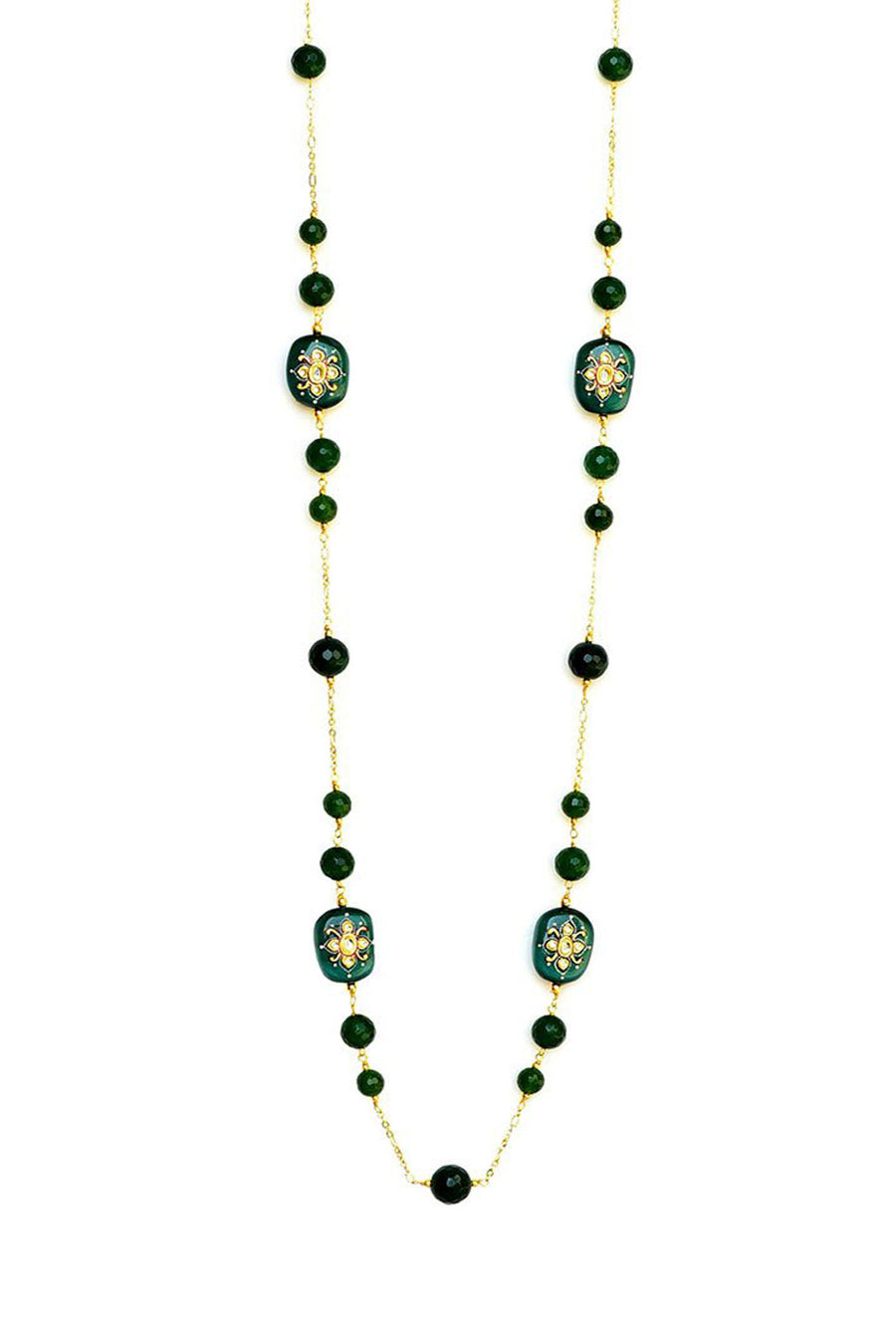 Handcrafted Embossed Bead Necklace Green Finish