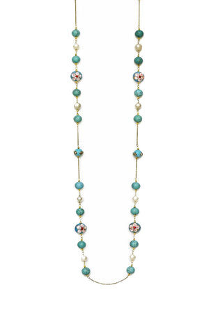 Handcrafted Embedded Flower, Turquoise & Pearl Long Necklace