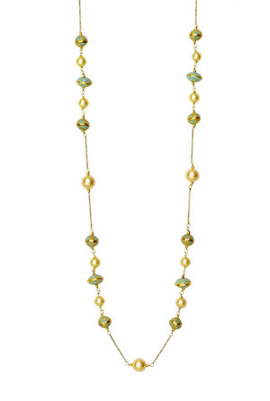 Enamel Meena & Pearl Long Necklace