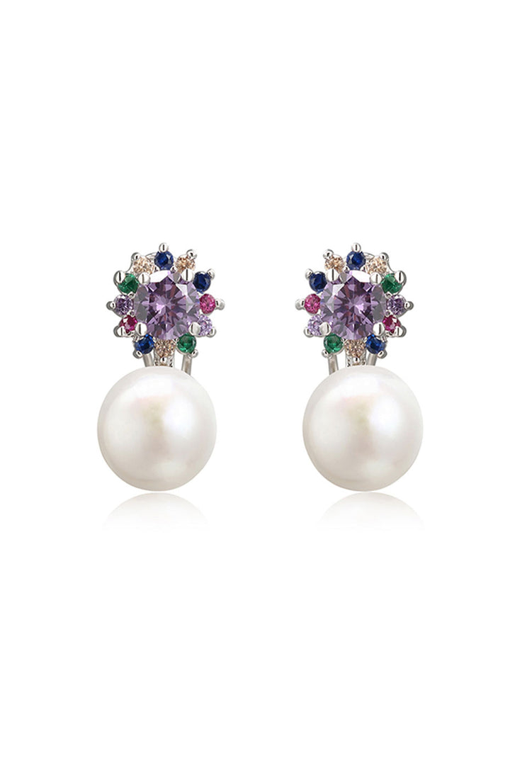 Iris Pearl & Amethyst Earrings