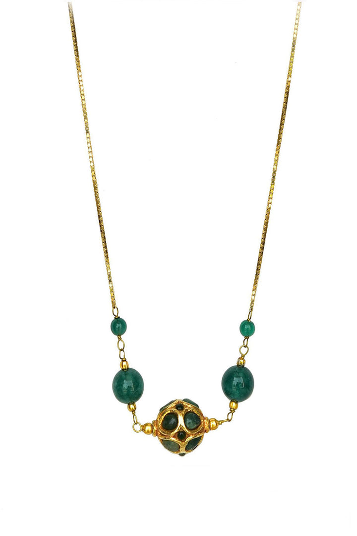 Net Bead Pendant Necklace Green Finish