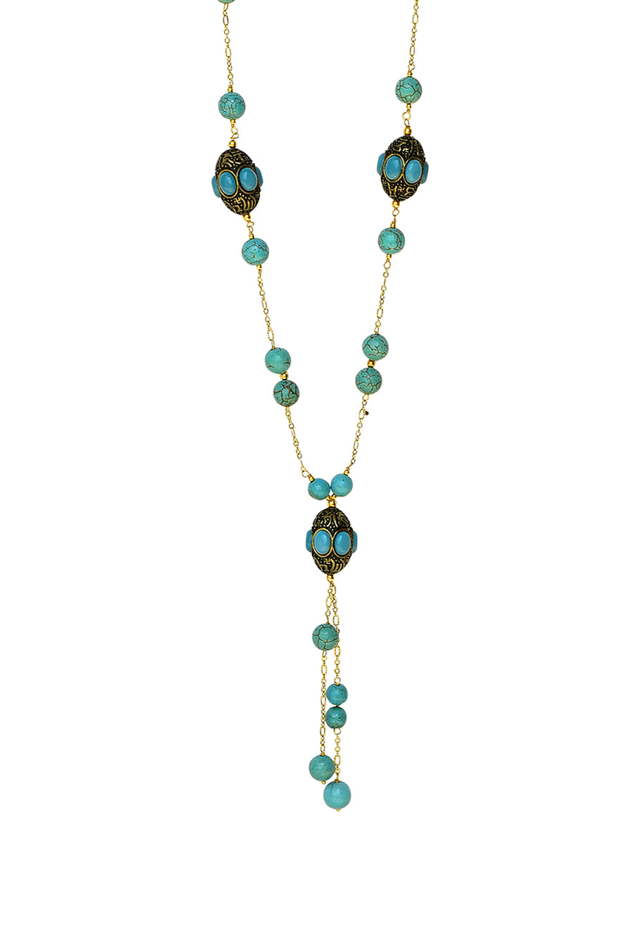 Handcrafted Barrel Bead Tassel Necklace Turquoise Finish