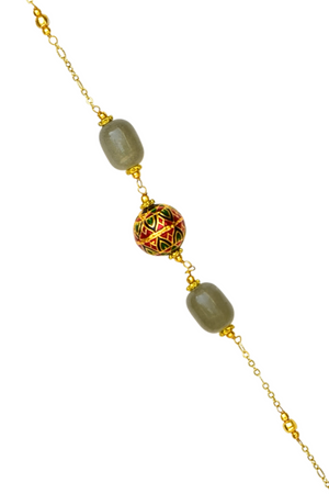 Painted Enamel Meena Bead Necklace