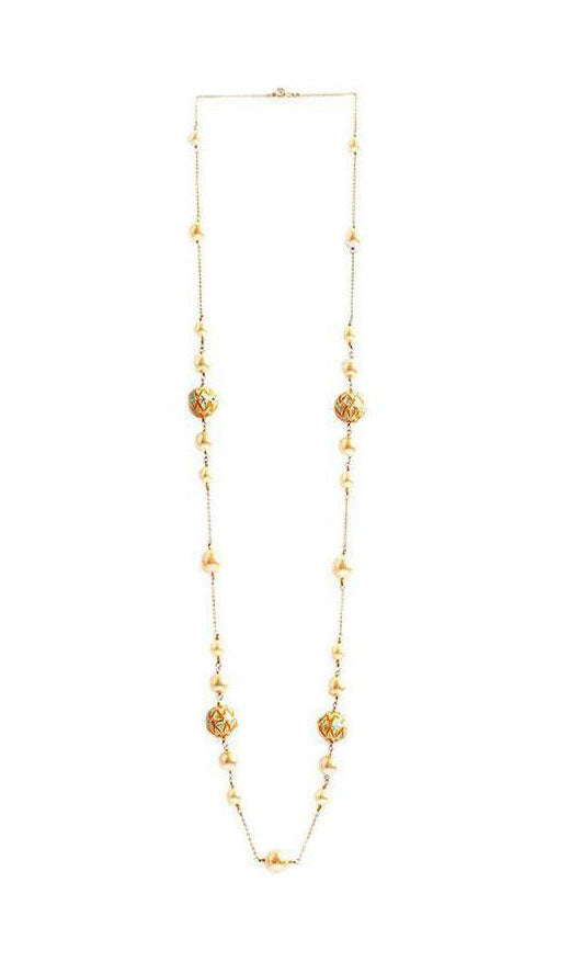 Layla Long Necklace (Cream pearl with yellow & blue painted enamel beads)