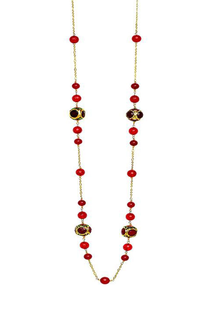 Hala Long Necklace(Red) - Handcrafted 'Caged' Bead with Quatrz