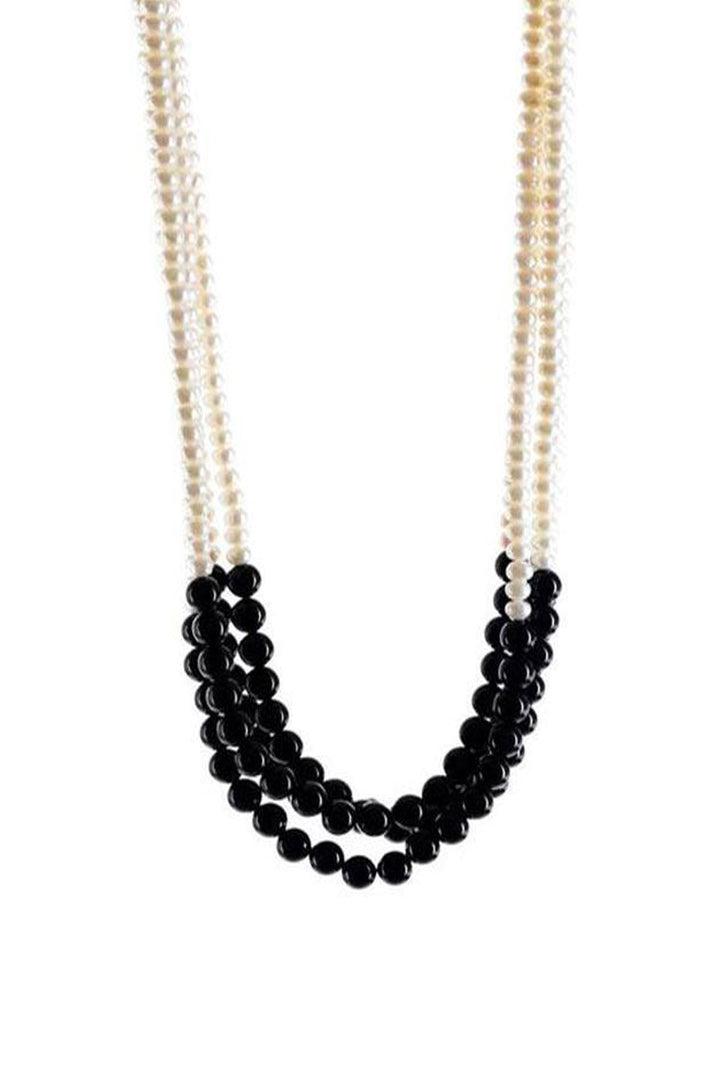 Samira Necklace - Pearl & Black Onyx