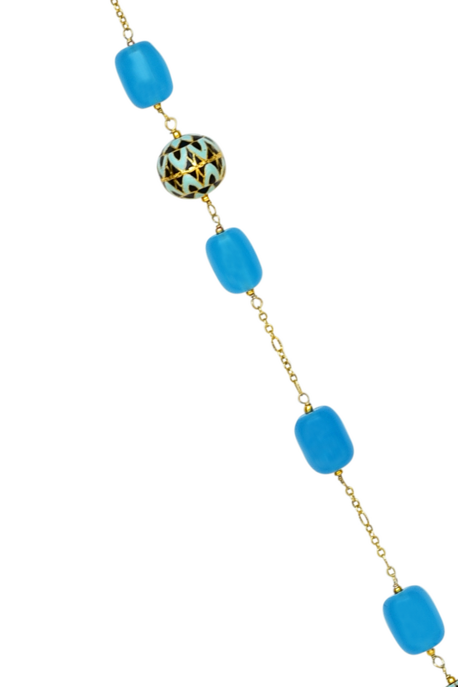 Sabah Long Necklace (Blue) - Painted Enamel Meena Necklace with Chalcedony