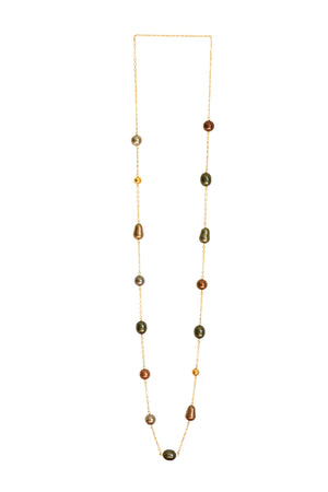 Multicolor Mother Of Pearl & Gold Tone Beads Necklace