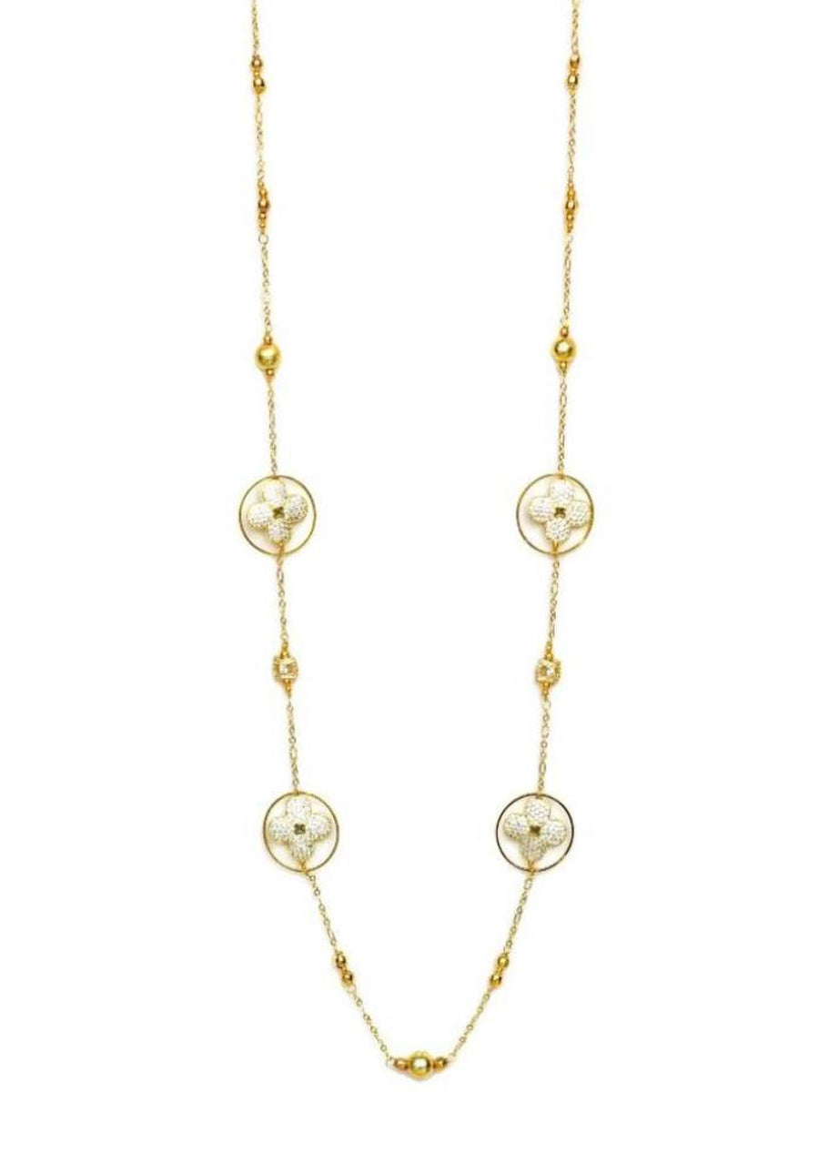Products Floral Cubic Zirconia Round Hoop Geometric Necklace Gold Finish