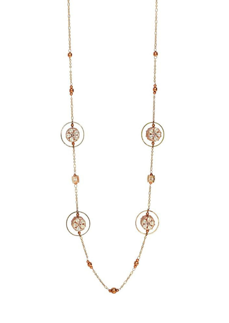 Embedded Flower Round Hoop  Geometric Necklace Rose Gold Finish